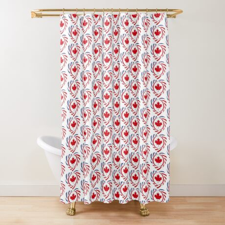 Canadian American Multinational Patriot Flag Series (Heart) Shower Curtain