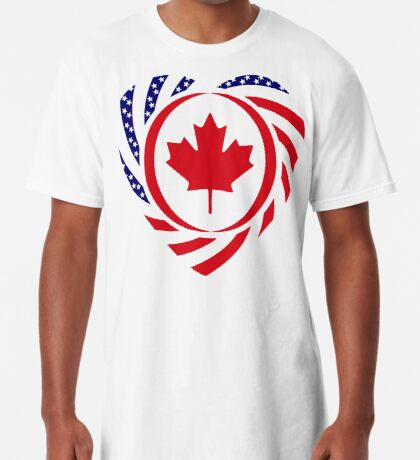 Canadian American Multinational Patriot Flag Series (Heart) Long T-Shirt