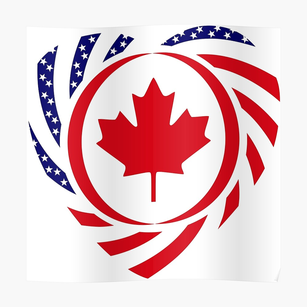 Canadian American Multinational Patriot Flag Series (Heart) Poster