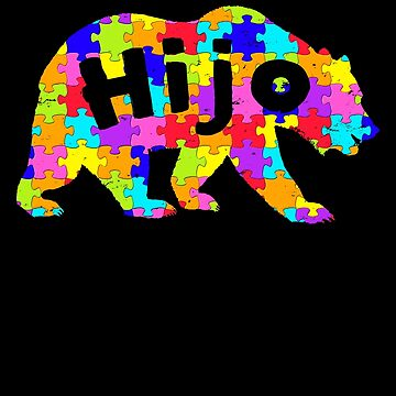 Hijo Bear Latino Autism Awareness Spanish Mexican Autism Awareness matching cute puzzle bear design for family light it up blue support autistic asperger by bulletfast