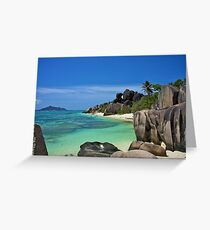 """Garden of Eden""- The Beach of LaDigue, Seychelles Greeting Card"
