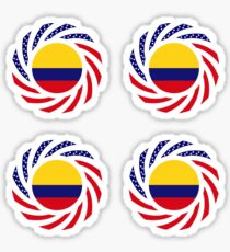 Colombian American Multinational Patriot Flag Series Sticker