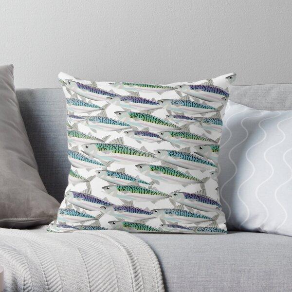School of Mackerel pattern Throw Pillow