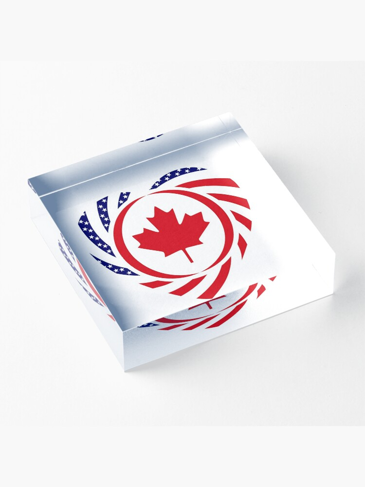 Alternate view of Canadian American Multinational Patriot Flag Series (Heart) Acrylic Block