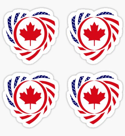 Canadian American Multinational Patriot Flag Series (Heart) Sticker