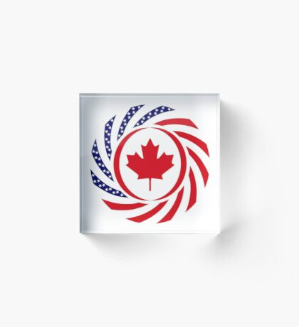 Canadian American Multinational Patriot Flag Series Acrylic Block