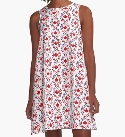 Canadian American Multinational Patriot Flag Series A-Line Dress