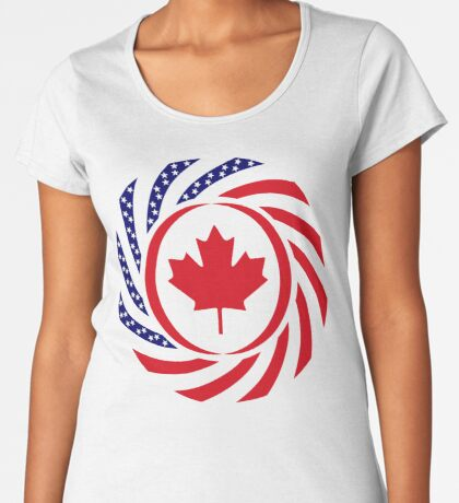 Canadian American Multinational Patriot Flag Series Premium Scoop T-Shirt
