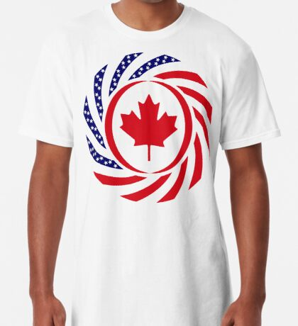 Canadian American Multinational Patriot Flag Series Long T-Shirt