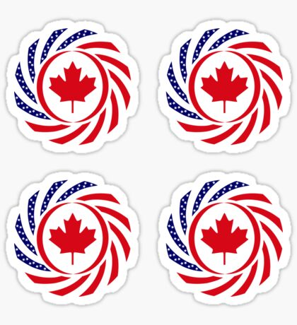 Canadian American Multinational Patriot Flag Series Sticker