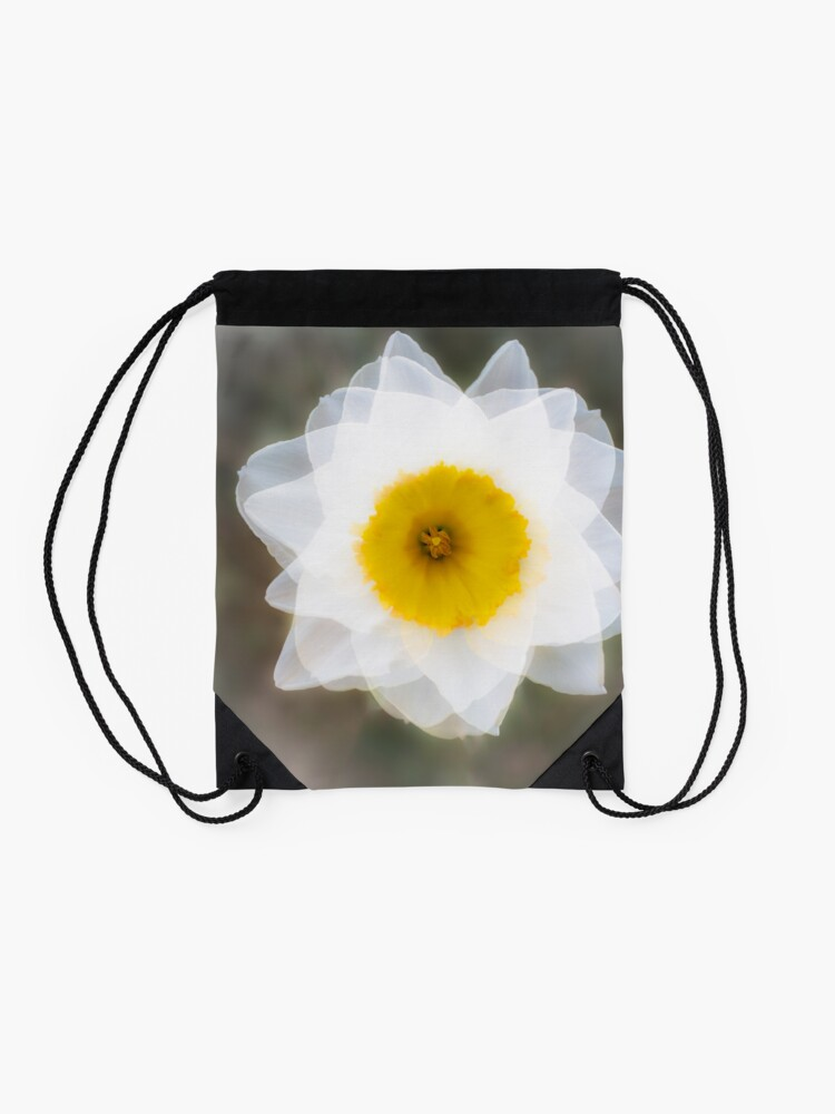 Alternate view of The Elegant and Beautiful Abstract Image of a White Daffodil Flower Drawstring Bag