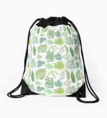 Tropical Leaves Drawstring Bag