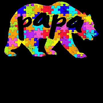 Papa Bear Matching Puzzle Family Autism Awareness Month Autism Awareness matching cute puzzle bear design for family light it up blue support autistic asperger by bulletfast