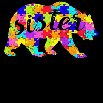 Sister Bear Matching Puzzle Family Autism Awareness Month Autism Awareness matching cute puzzle bear design for family light it up blue support autistic asperger by bulletfast