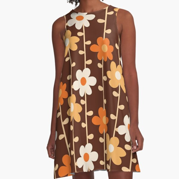 COMING UP DAISIES - Chocolate A-Line Dress
