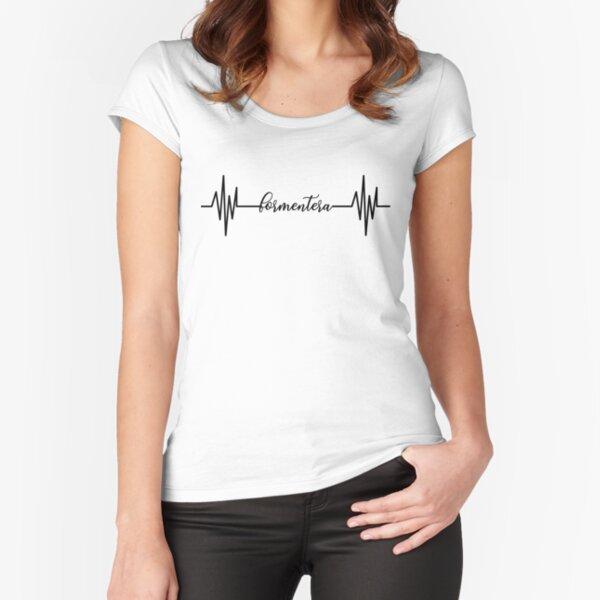 Formentera Herzschlagentwurf Tailliertes Rundhals-Shirt