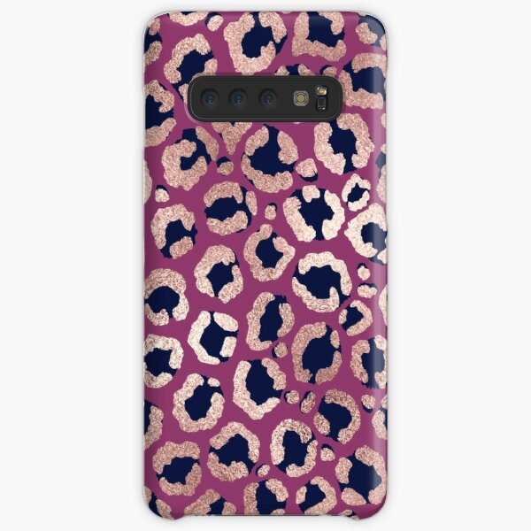 Girly Modern Rose Gold Navy Purple Leopard Print Samsung Galaxy Snap Case