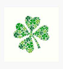 Lámina artística afortunado trébol de cuatro hojas, trébol verde