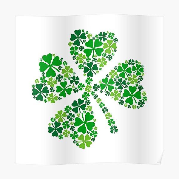 lucky four-leaf clover, green shamrock  Poster