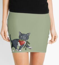 Strawberries and Cream Thief Kitten Tea Party Mini Skirt