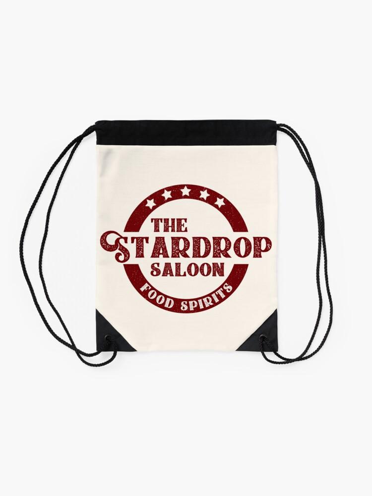 Alternate view of The Stardrop Saloon Pub Logo   Stardew Valley   Burgundy Logo Drawstring Bag