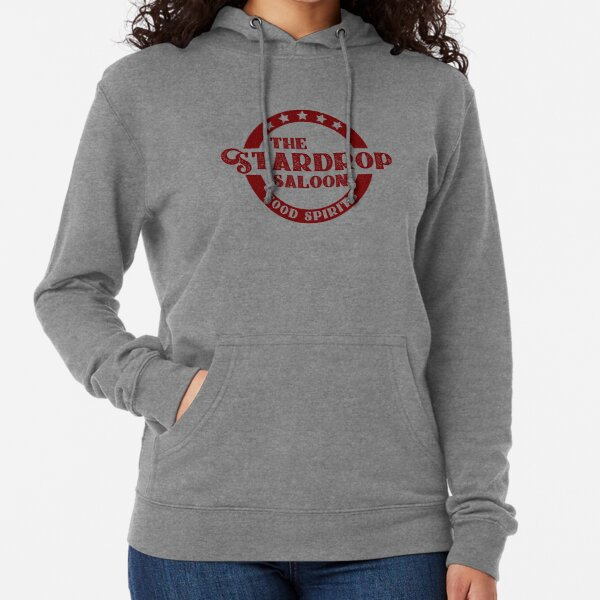 The Stardrop Saloon Pub Logo | Stardew Valley | Burgundy Logo Lightweight Hoodie