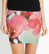 Watercolor Coral Quince Mini Skirt