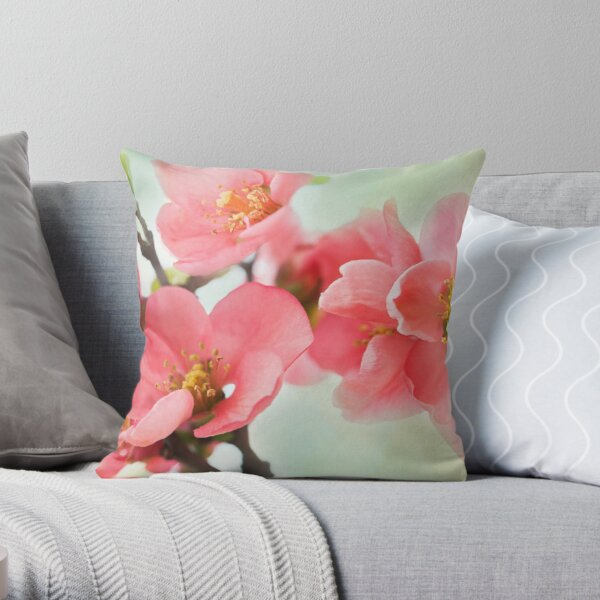 Watercolor Coral Quince Throw Pillow