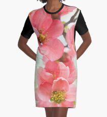 Watercolor Coral Quince Graphic T-Shirt Dress