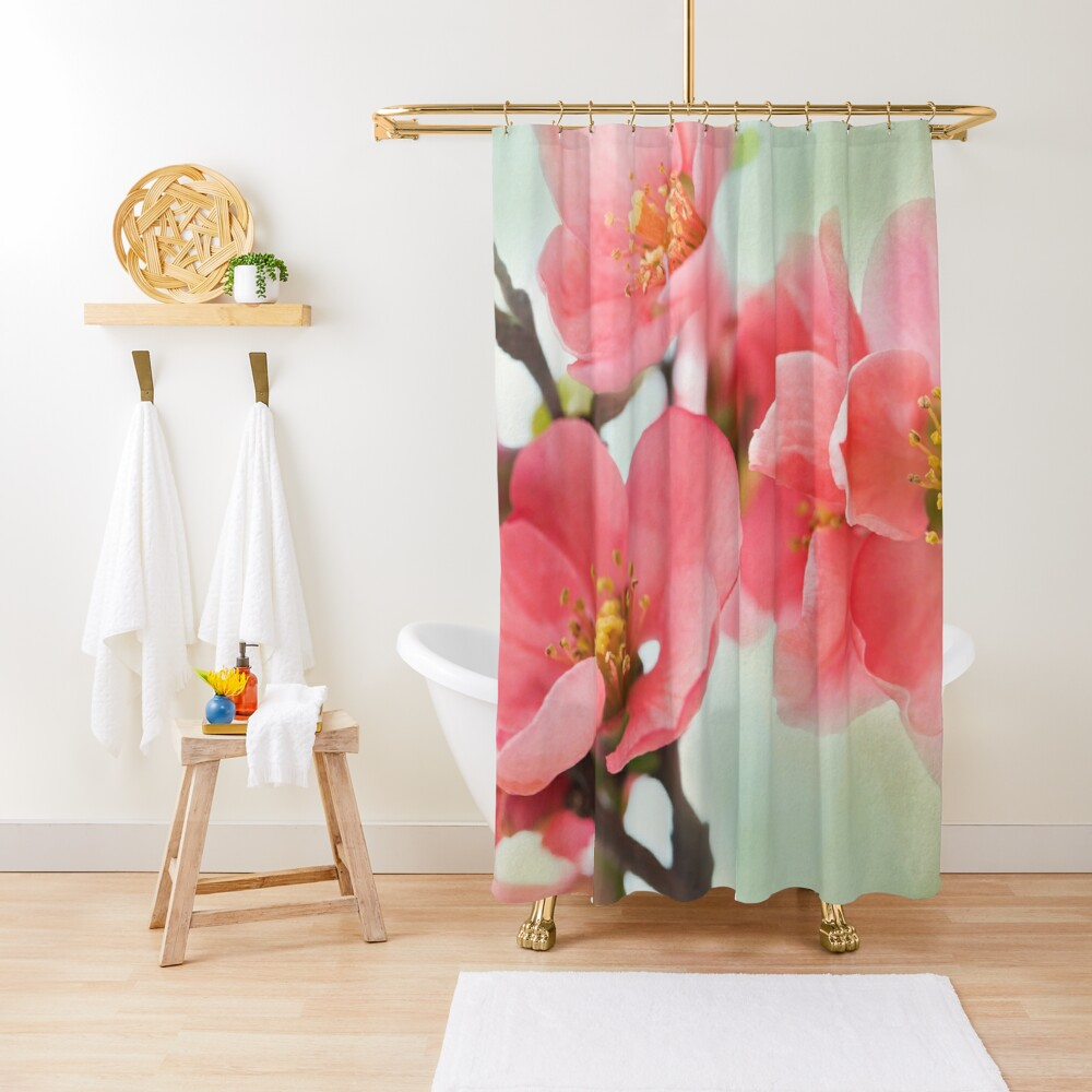 Watercolor Coral Quince Shower Curtain
