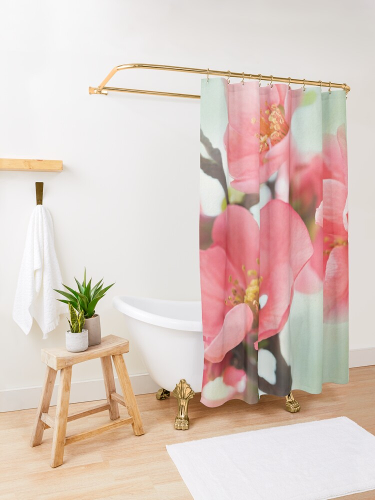 Alternate view of Watercolor Coral Quince Shower Curtain