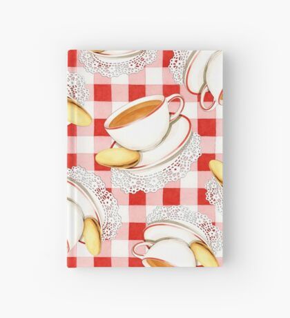 Red Gingham and Teacups Hardcover Journal