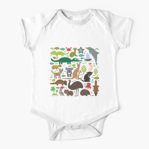 Australia: koala, snake, turtle, crocodile, alliagtor, kangaroo, dingo Short Sleeve Baby One-Piece