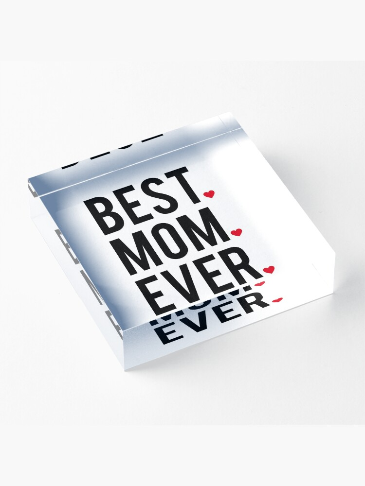 Alternate view of Best mom ever, word art, text design with red hearts  Acrylic Block