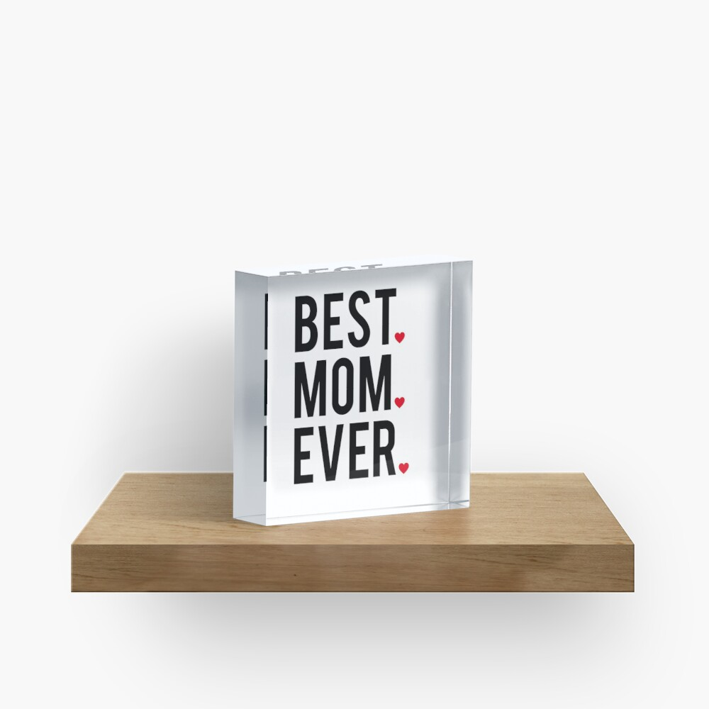 Best mom ever, word art, text design with red hearts  Acrylic Block