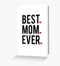 Tarjeta de felicitación La mejor mamá de todos, el arte de la palabra, el diseño de texto con corazones rojos