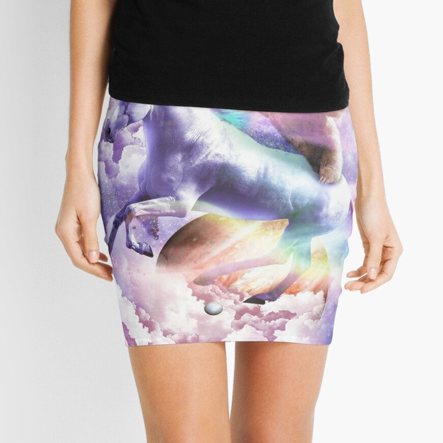 Epic Space Sloth Riding On Unicorn Mini Skirt