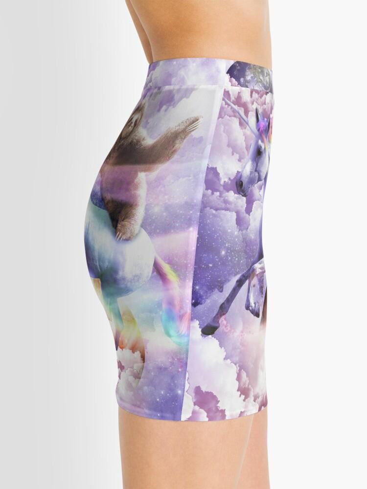Alternate view of Epic Space Sloth Riding On Unicorn Mini Skirt
