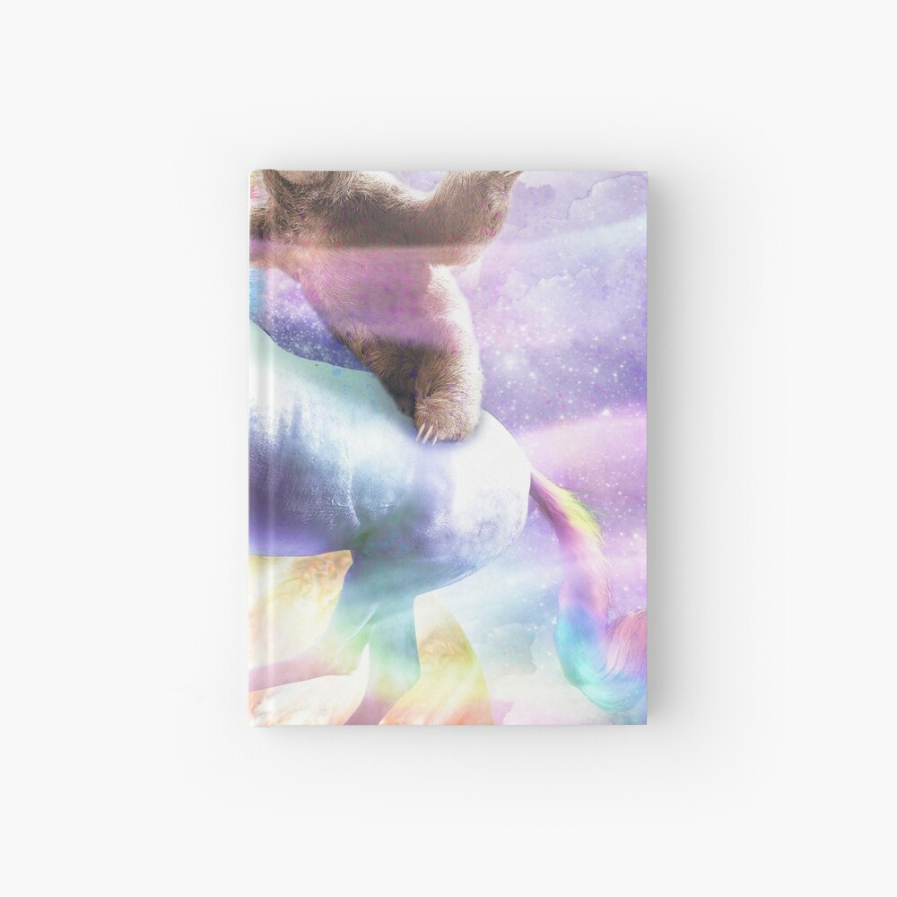 Epic Space Sloth Riding On Unicorn Hardcover Journal