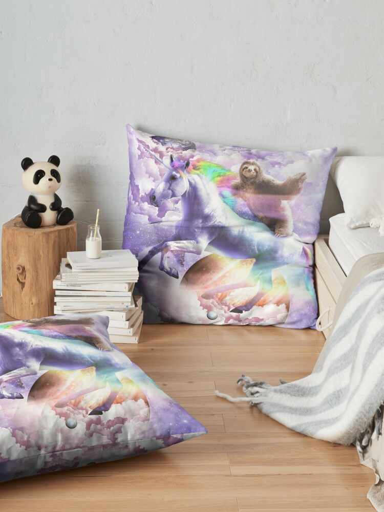 Alternate view of Epic Space Sloth Riding On Unicorn Floor Pillow