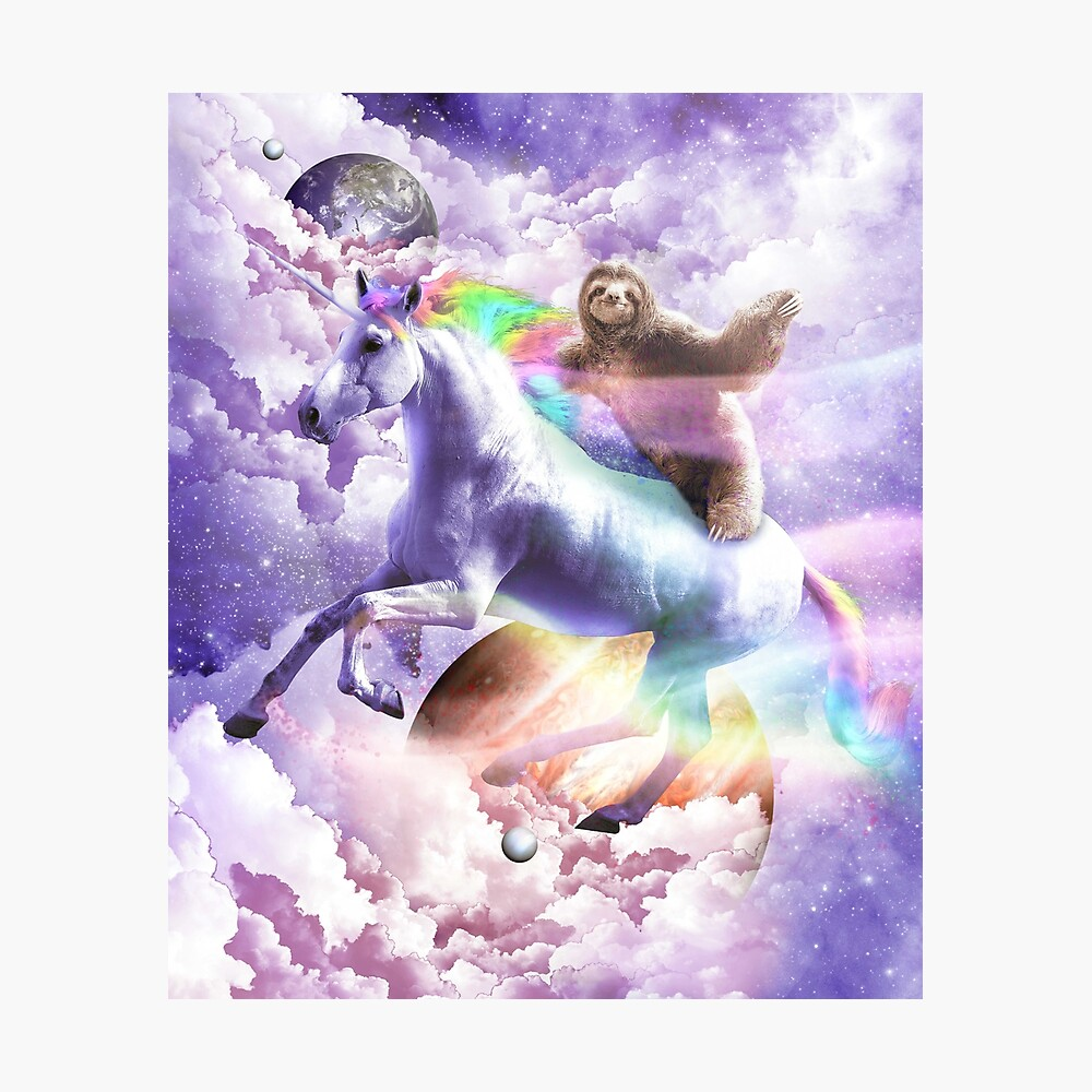 Epic Space Sloth Riding On Unicorn Photographic Print