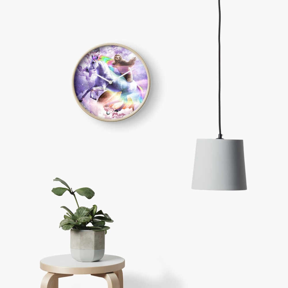 Epic Space Sloth Riding On Unicorn Clock