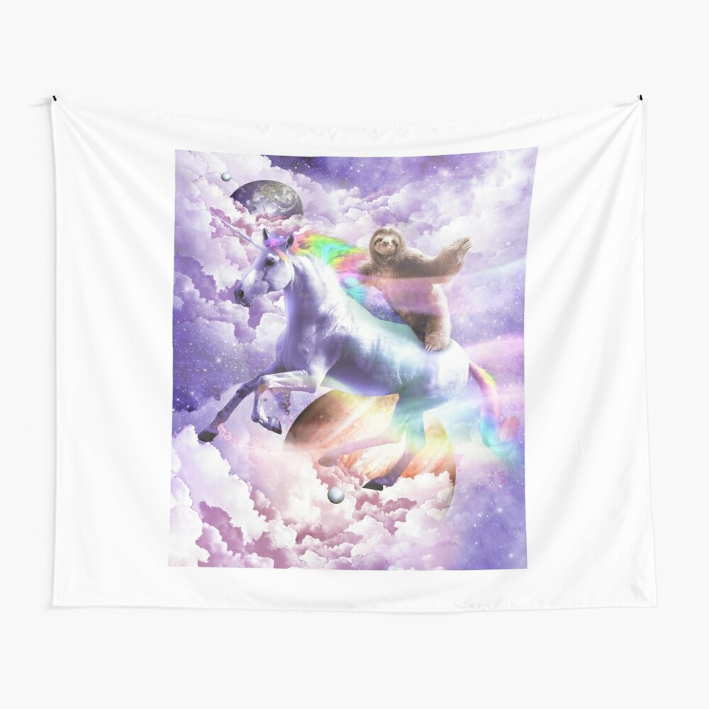 Epic Space Sloth Riding On Unicorn Wall Tapestry