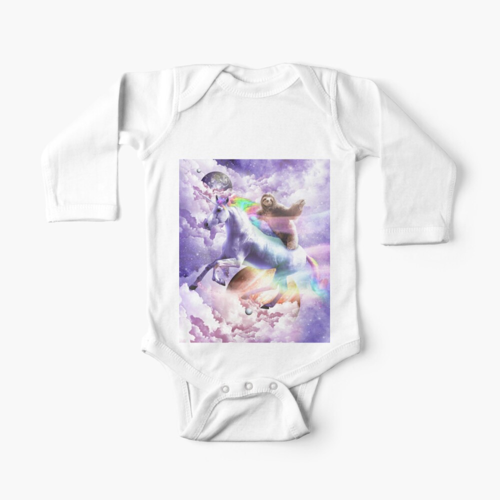 Epic Space Sloth Riding On Unicorn Baby One-Piece