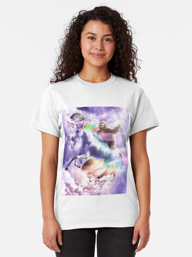 Alternate view of Epic Space Sloth Riding On Unicorn Classic T-Shirt