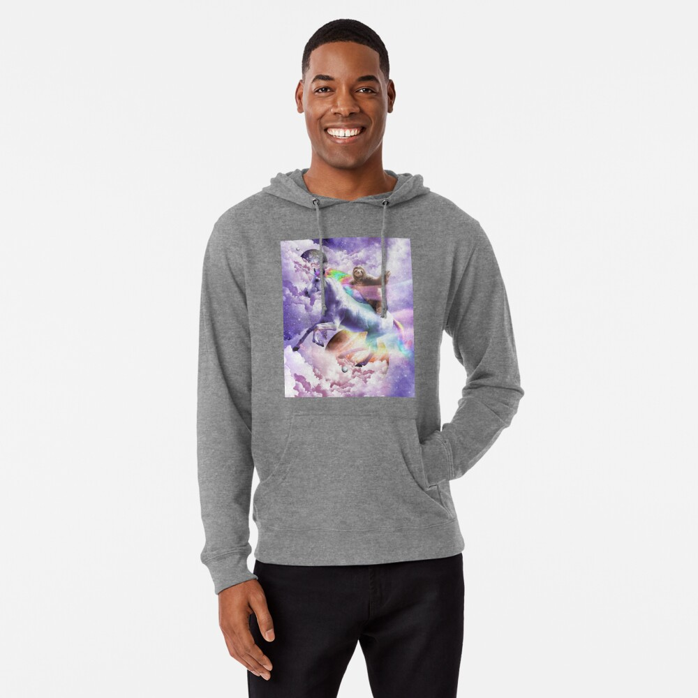 Epic Space Sloth Riding On Unicorn Lightweight Hoodie