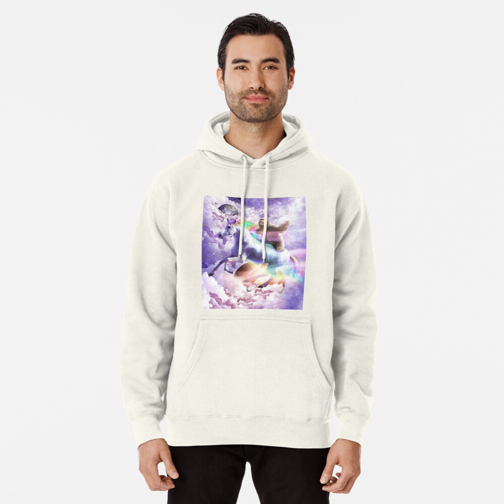Epic Space Sloth Riding On Unicorn Pullover Hoodie