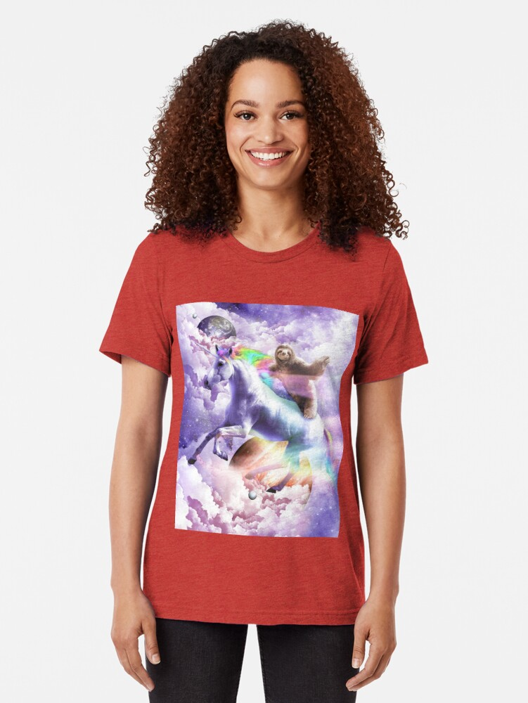 Alternate view of Epic Space Sloth Riding On Unicorn Tri-blend T-Shirt