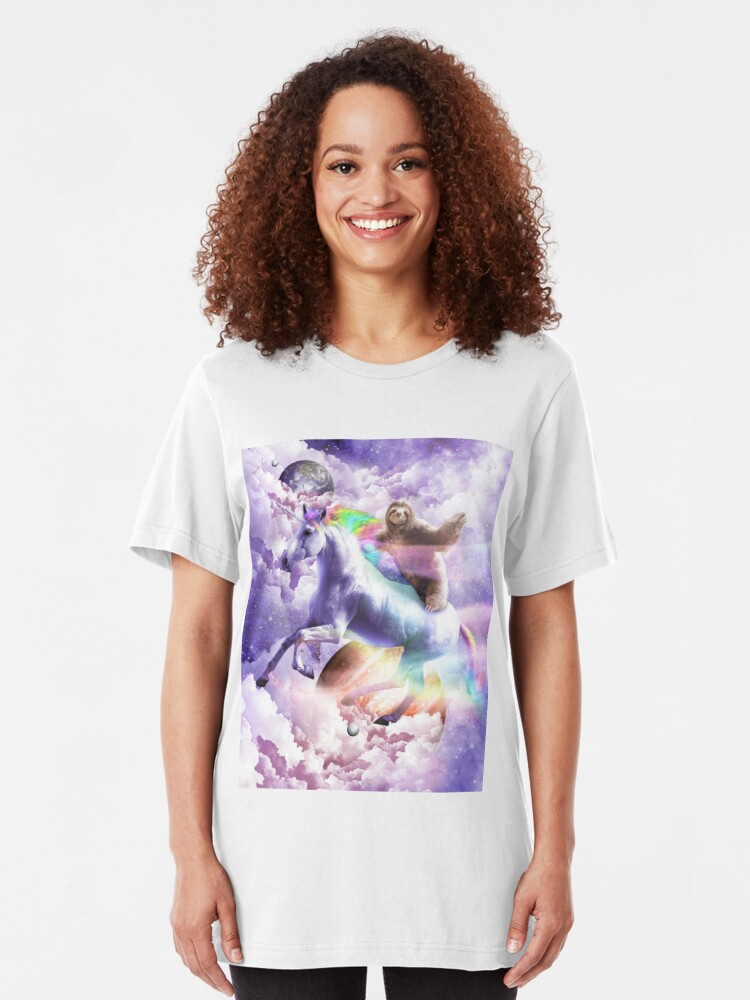 Alternate view of Epic Space Sloth Riding On Unicorn Slim Fit T-Shirt
