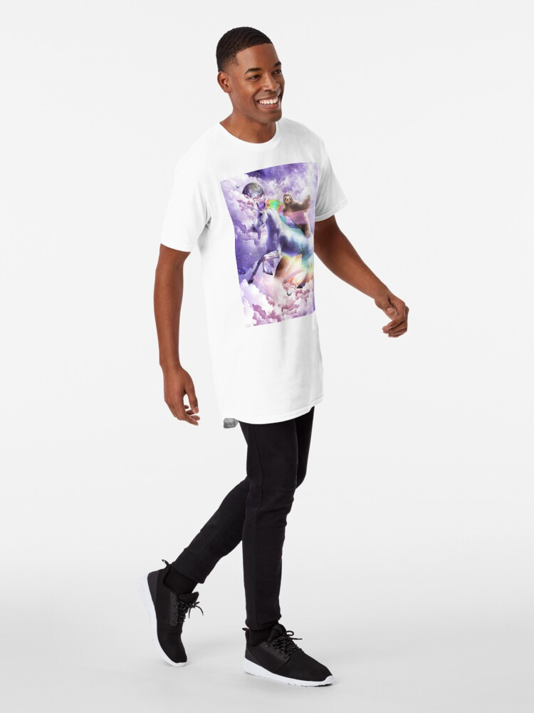 Alternate view of Epic Space Sloth Riding On Unicorn Long T-Shirt